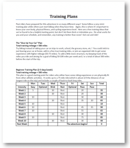 Training plan preview
